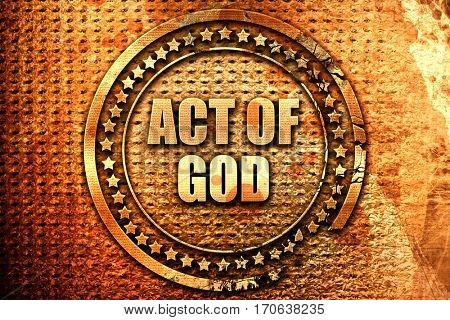 act of god, 3D rendering, text on metal