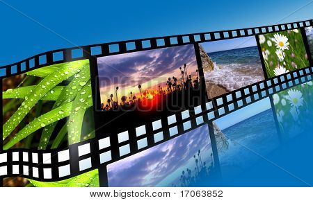 3D film strip with nature pictures