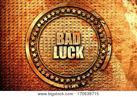 bad luck, 3D rendering, text on metal