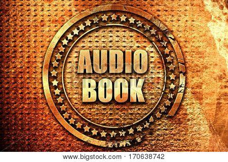 audio book, 3D rendering, text on metal