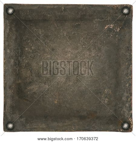 Old rusty metal plate with rivets. Industrial background, texture.