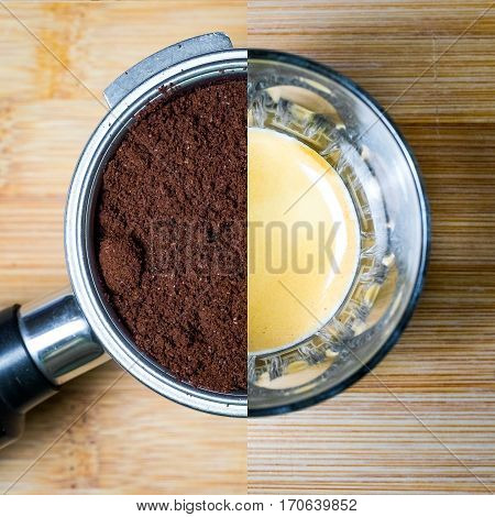 Split image of group head with coffee and espresso in glass on bamboo timber background