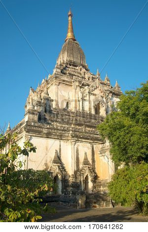 Sunny evening by the ancient Buddhist temple Gawdaw-palin. Bagan, Myanmar