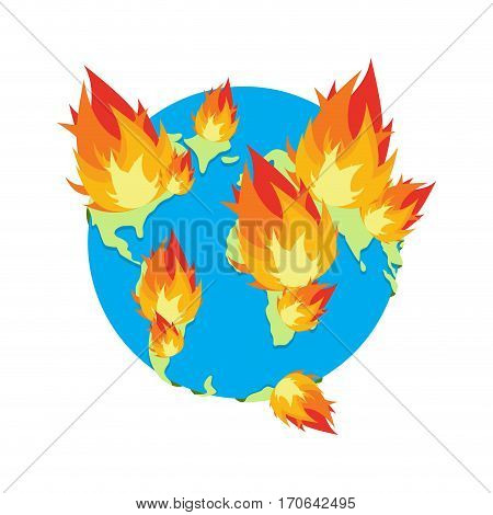 Earth On Fire. Planet Is Burning. Disaster. Doomsday
