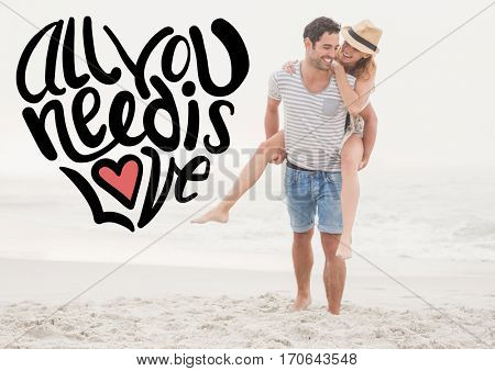 Composite images of happy man giving woman piggyback on beach