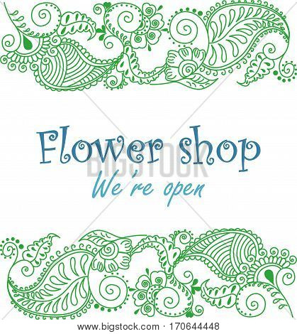 Ornamental signage for flower shop. Vector logotype on white background.