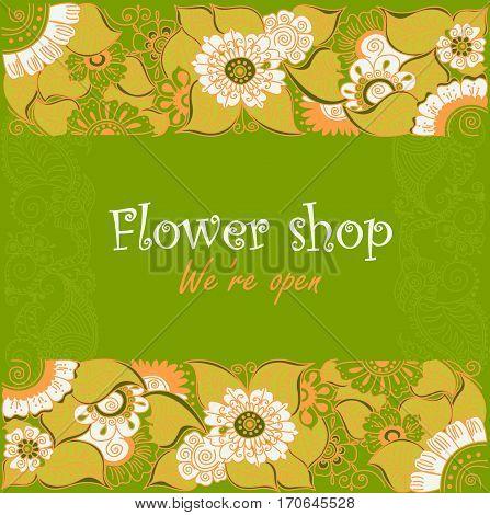Ornamental signage for flower shop. Vintage composition