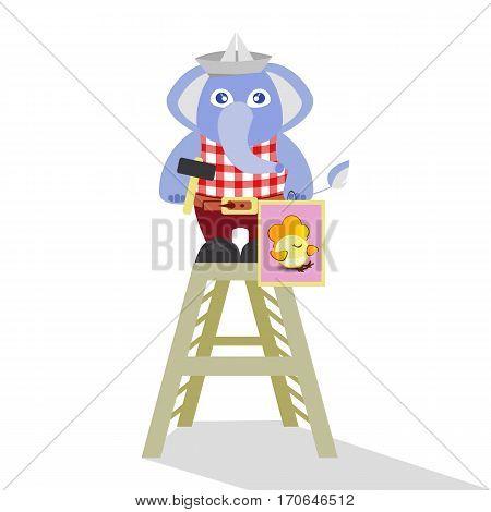 Elephant builder on a white background. children s illustration. is used to print, website, smartphone, design, textiles, ceramics, fabrics, prints postcards packaging etc