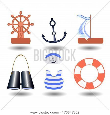 ship elements on a white background. children s illustration. is used to print, website, smartphone, design, textiles, ceramics, fabrics, prints postcards packaging etc