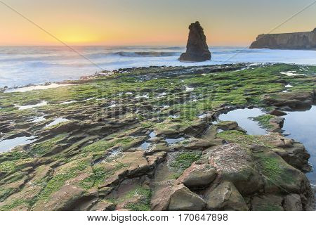 Sunset at Davenport, Santa Cruz County, California, USA