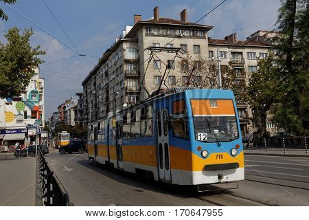 SOFIA, BULGARIA - SEPTEMBER 1, 2016: Trams on line in the Bulgarian capital city. The tram network began operation on January 1, 1901, and now has about 300 km of tracks