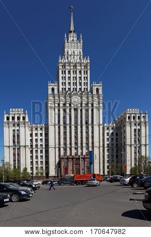 MOSCOW, RUSSIA - MAY 4, 2012: Building of Ministry of Foreign Affairs of Russian Federation. Built in 1948-1953, it is 172 m tall and is one of famous Seven Sisters