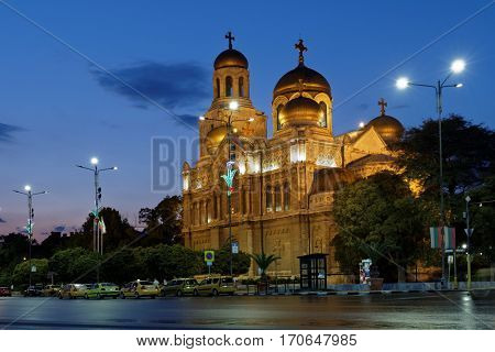 VARNA, BULGARIA - AUGUST 30, 2016: Night view to the Dormition of the Mother of God Cathedral. Opened in 1886, it is the second largest Orthodox cathedral in Bulgaria