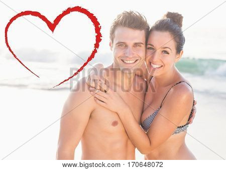 Composite image of couple embracing each other