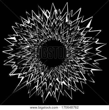 Circular Geometric Graphic With Distorted Radial, Radiating Lines. Abstract Monochrome Illustration.