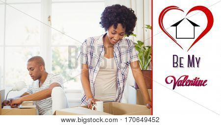Composite image of be my valentine text with happy couple unpacking boxes