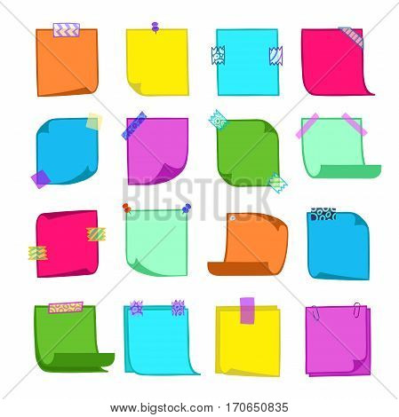 Hand-drawn set of note papers with washi tape in cartoon style, memo with curled corners, colorful decorative paper tape, pin, isolated note paper on white background, EPS 8