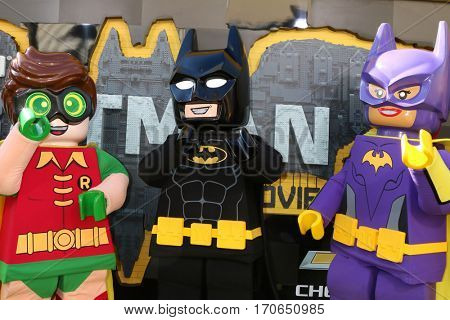 LOS ANGELES - FEB 4:  Lego Robin, Lego Batman, Lego Batgirl at the