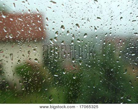 Starkregen, Blick vom Fenster Haus