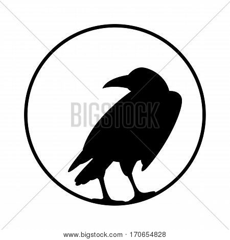 Crow vector illustration style Flat  silhouette black