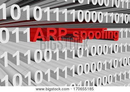 arp spoofing as a binary code 3D illustration