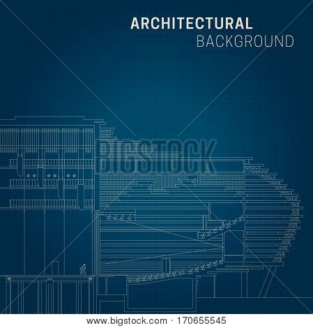 Architectural background. Technical line drawing on blue background.