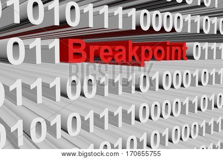 breakpoint in the form of binary code, 3D illustration