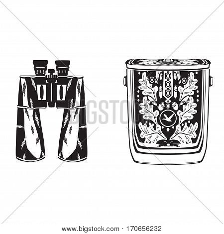 Vector black and white binocular with bag isolated. Flat style design illustration.