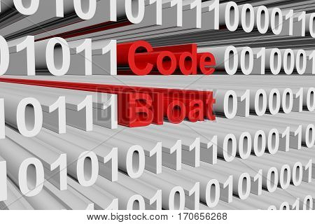 code bloat in the form of binary code, 3D illustration