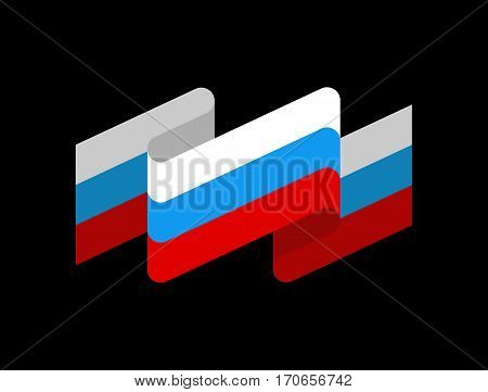 Russia Flag Ribbon Isolated. Russian Tape Banner. State Symbol