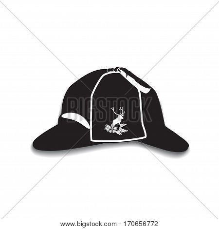 Vector illustration of detective sherlock holmes hat isolated on white background. Black and white deerstalker hat with cloth badge deer silhouette in flat style.