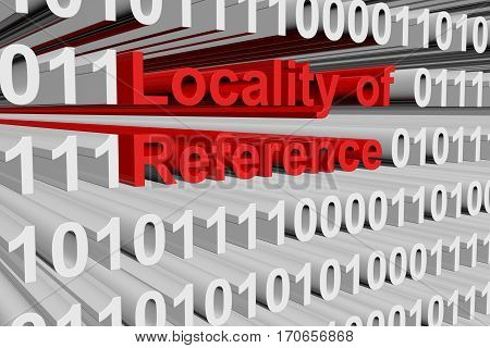 locality of reference in the form of binary code, 3D illustration