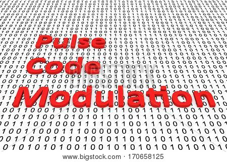 pulse code modulation in the form of binary code, 3D illustration