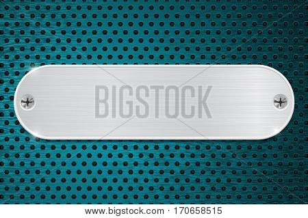 Metal plate on blue perforated background. Vector illustration