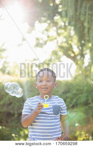 Portrait of child making bubble with bubble wand in a park