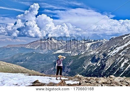 Woman hiking in Rocky Mountains National Park. Estes Park. Denver. Colorado. United States.