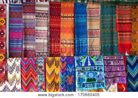 Traditional  colorful fabric at the street market in Flores, Guatemala.