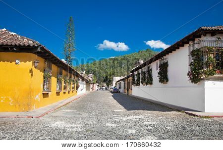 View of colonial buildings in Antigua city, Guatemala.