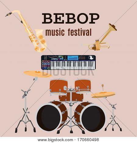 Vector set of bebop jazz music instruments, flat style design