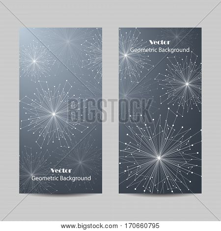 Set of vertical banners. Geometric pattern with connected lines and dots. Vector illustration on blue background.