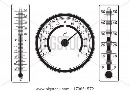 Thermometer black icon set. Celsius. Vector illustration isolated on white background
