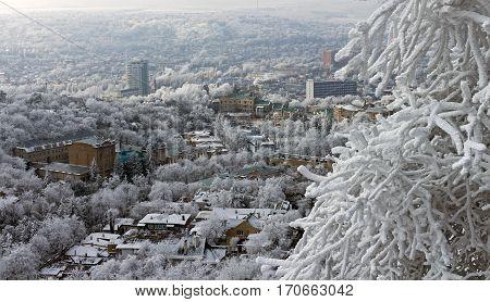 View on Pyatigorsk city in winter day,Caucasus,Russia.