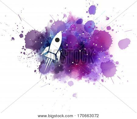 Galaxy Background With Rocket.
