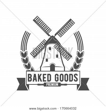 Bakery badge, logo icon modern style vector. Retro logotype and design elements isolated on white background