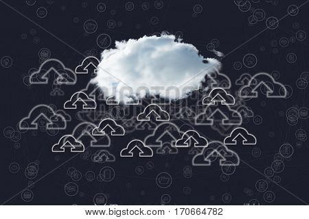 Conceptual image of cloud computing against digital generated background