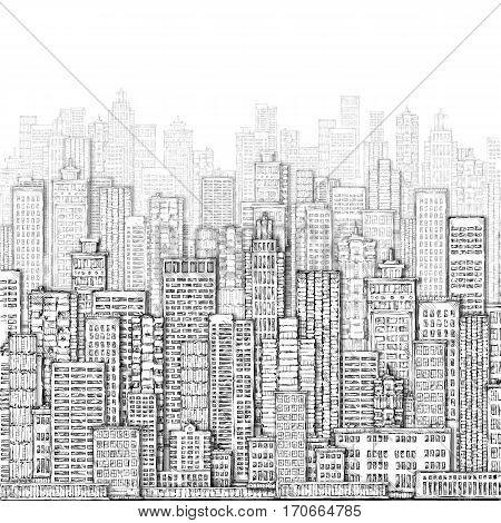 City Landmark Background. Hand Drawn Illustration