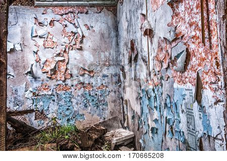 layers of old life - traces from wall-paper and paint of old residents for many years on ruins of the old house