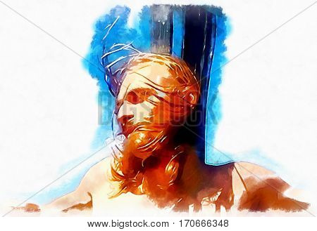 Jesus on the cross, avantgard interpretation with graphic stylization