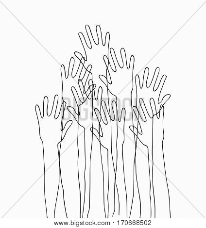 Hands up concert. Monochrome cartoon silhouette hands raised up in the air. Suitable for posters, flyers, banners.Vector illustration isolated on white background.