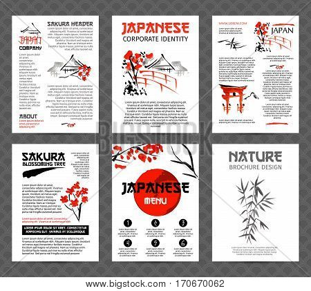 Banners or posters set with asia landscapes, buildings and blossoming sakura branches in traditional japanese sumi-e style. Vector brochure templates